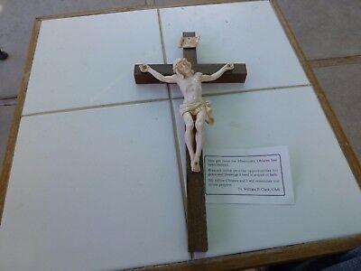 "Large Crucifix Jesus Statue Large Wall Cross Crucifix Hanging 13"". Solid Walnut."