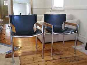 Mid century chrome and black leather regency arm chairs x 2 Redfern Inner Sydney Preview