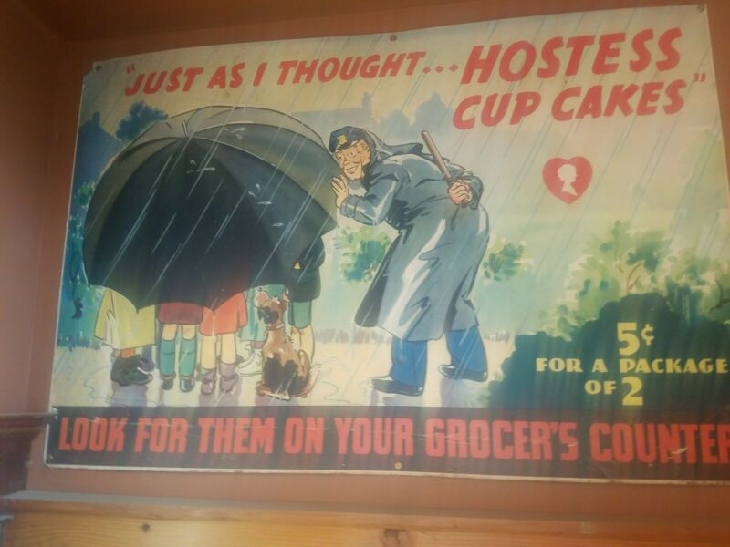 Vintage Hostess Cupcake Sign Large  Rare Antique Store Display Sign