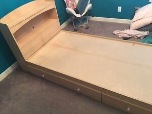Twin bed frame, with headboard and night stand