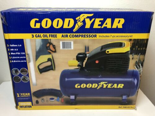 Good Year 3 Gallon Oil Free Air Compressor Includes 7 Piece Accesory Kit 135!