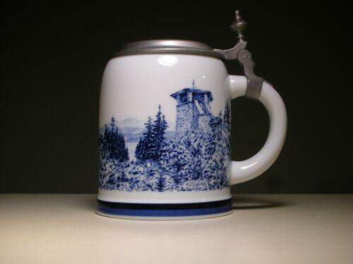 German Blue White Fichtelgebirgskrug Pewter Lid Porcelain Beer Mug