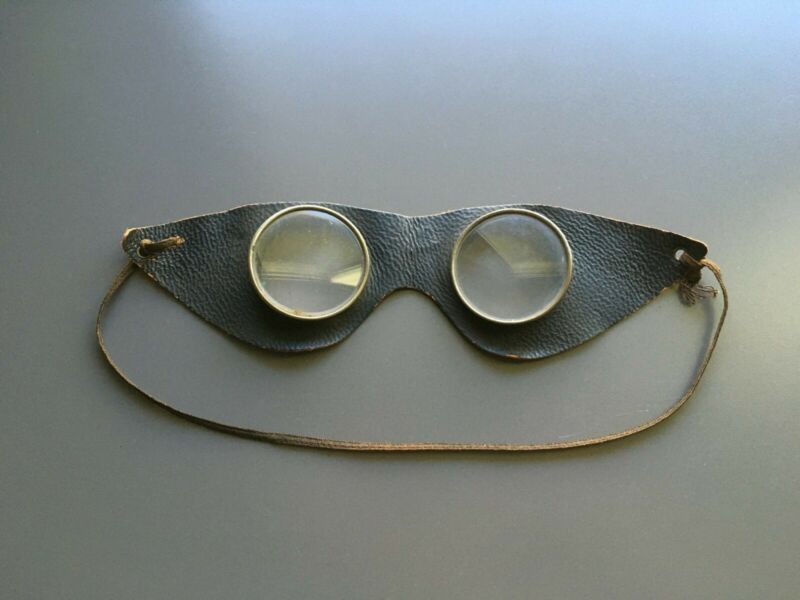 Antique Leather Goggles - Motorcycle Auto Car Aviation