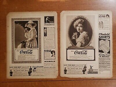 COCA COLA Vintage 1919 Print Ad MARION DAVIES Cover ILLUSTRATED REVIEW Lot of 2