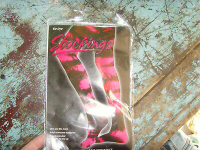 1 pair of tie Dye stockings adult 1 size Fun World Halloween costume womens pink