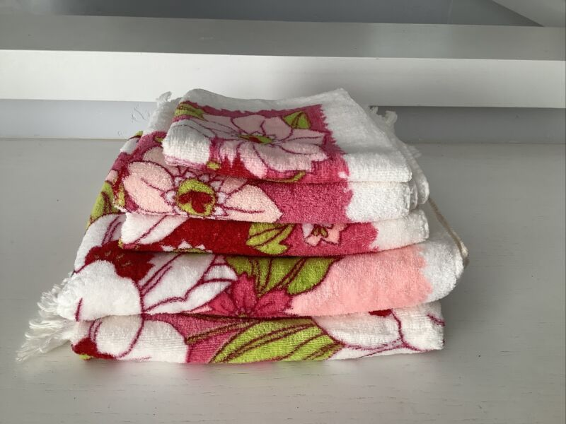 Vtg Royal Terry Of California Pink Floral Towels Set of 5