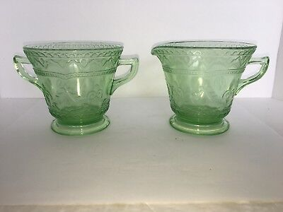 Green Depression Federal Glass PATRICIAN Footed Creamer and Footer Open Sugar