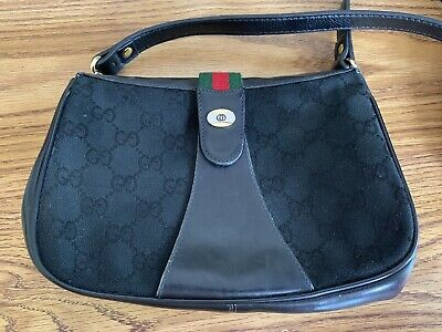 Authentic GUCCI Accessory Collection Crossbody Bag Purse Black Vintage Excellent