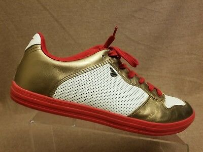 Gola Vanish Men Perforated Casual Retro White Gold Red Sneakers Shoes Size 12