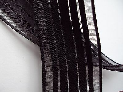 9 Feet Craft Floral Gift Wrap Black Sheer Stripe Wire Edge Ribbon 1.5 in. wide (Black Gift Wrap)