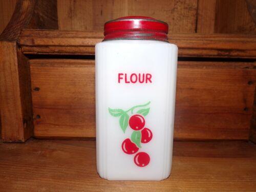 Tipp City USA Milk Glass Red Cherries Flour Shaker Vintage