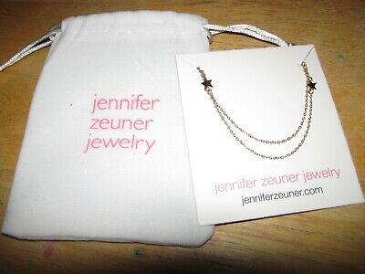 Jennifer Zeuner Jewelry gold plated double star necklace NEW RRP£40