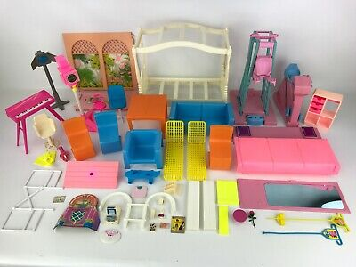 Vintage Barbie Furniture & Accessories Lot 70's, 80's TV Camera, Exercise, Bed..