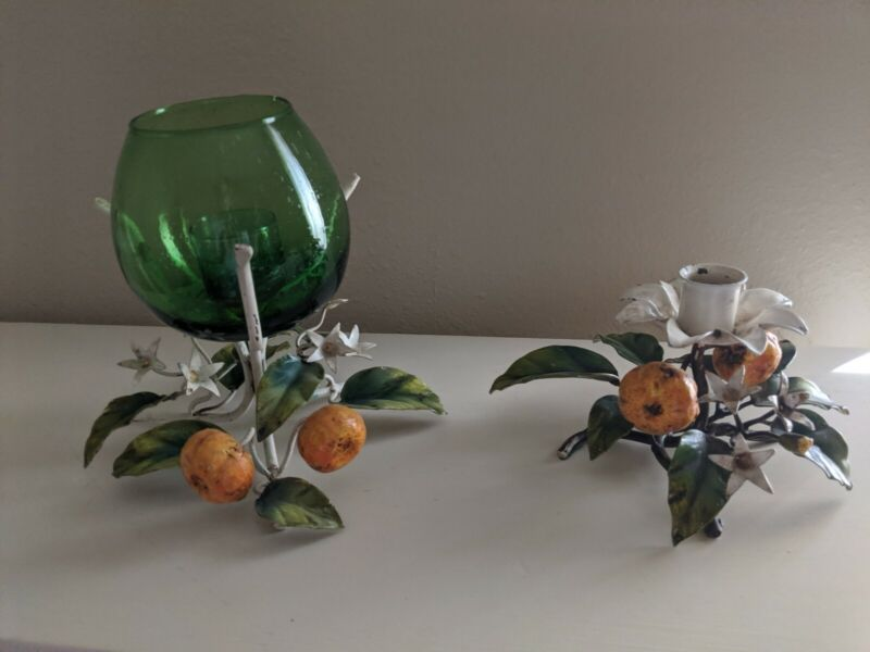 Italian Tole Orange Tangerine Candle Holders Flower Blossoms