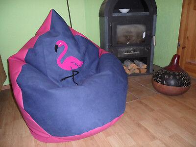 "Sitzsack L "" von Lux ""ca 330 L super Flamingo Design / Lederimitat  pink Lounge"