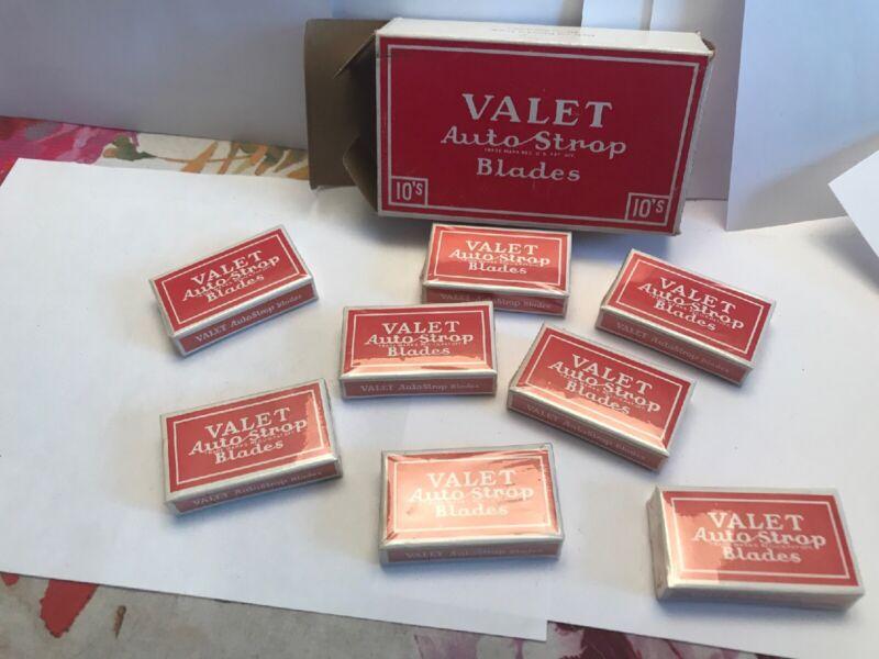 Vintage VALET AUTO STROP RAZOR BOX & 8 Packs of 10 Razor Blades Sealed NOS