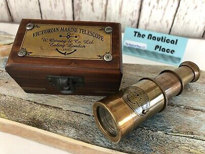 Victorian Brass Telescope w/ Box ~ Antique Finish ~ Nautical Maritime Spyglass