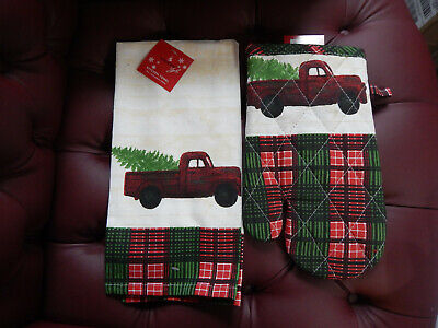 Holiday Style Kitchen Towel & Oven Mitt-Truck with Christmas Tree-Red & Green