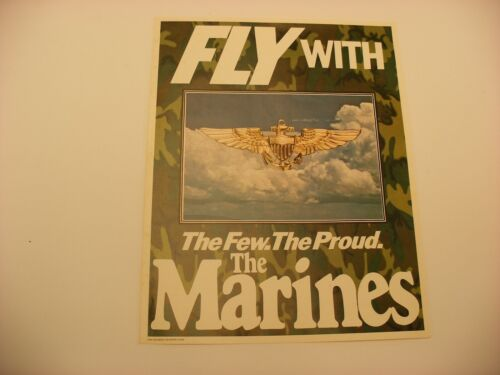 """Vtg USMC """" Fly with the Few The Proud The Marines """" Recruiting Poster 14"""" X 11"""""""