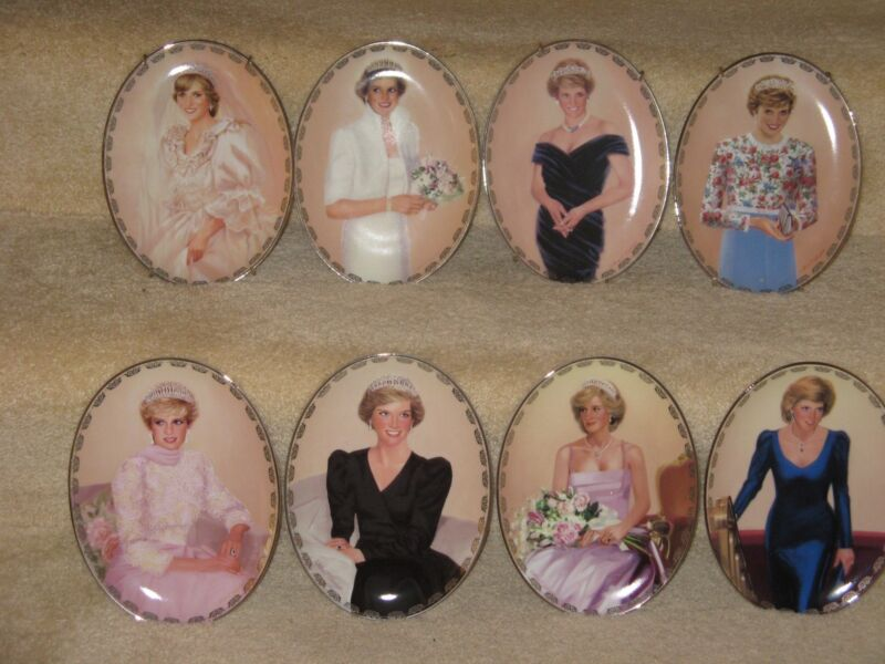 SET OF 8 PRINCESS DIANA PLATES FROM BRADFORD EXCHANGE QUEEN OF HEARTS SERIES