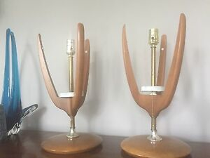 Mid Century Retro Vintage Walnut Lamp Pair