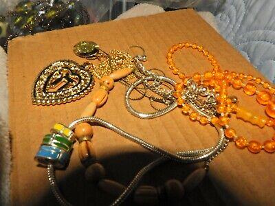 lot of necklace beaded silver tone, vintage plastic, wood choker Plastic Bead Choker