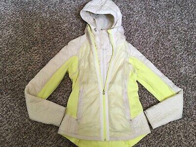 Euc Lululemon Fleece coat / Jacket with Detach Vest w/ hood Sz 8 yellow & cream