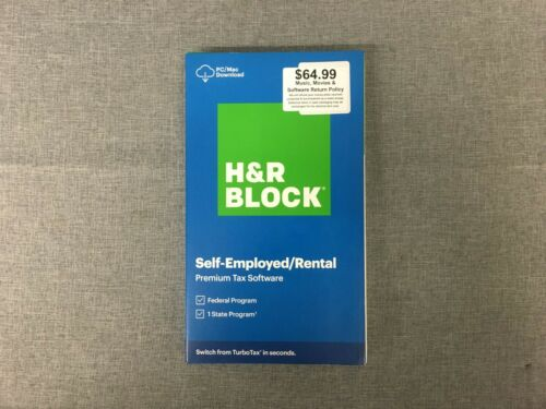 H&R BLOCK 2020 SELF-EMPLOYED/ RENTAL PREMIUM TAX SOFTWARE FEDERAL STATE CODE-