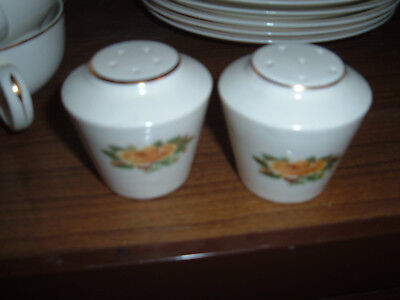 Paden City Pottery Golden Scepter yellow rose salt pepper creamer & sugar set