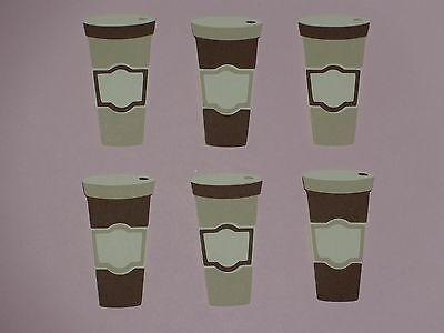 """6 coffee cups   2 1/4"""" die cuts  cream tan dark brown"""