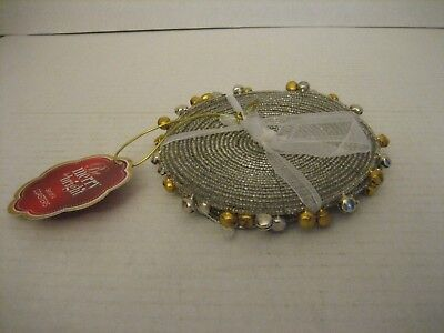 Be Merry Be Bright Beaded Gold Silver/Gold Bells Round Drink Coaster Set of 4 NW ()