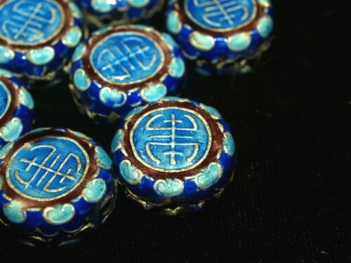 One Vintage Chinese Bead Cloisonne Canton Enamel Silver Blue Shou 16mm coin