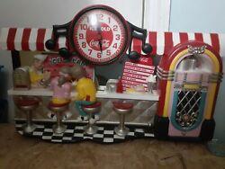 Vintage Coca Cola Diner Counter Scene Soda Ice Cream Parlor 3-D Wall Clock