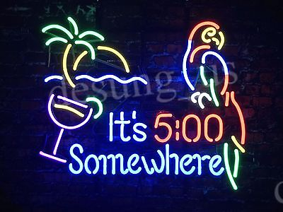 """New It's 5:00 Somewhere Parrot Beer Bar Neon Sign 19""""x15"""" Ship From USA"""