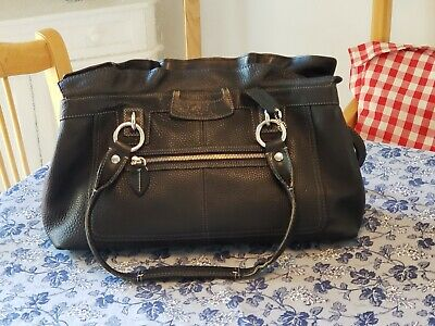 EXCELLENT COACH Penelope Black Pebbled Leather Satchel Tote Shoulder Bag Purse