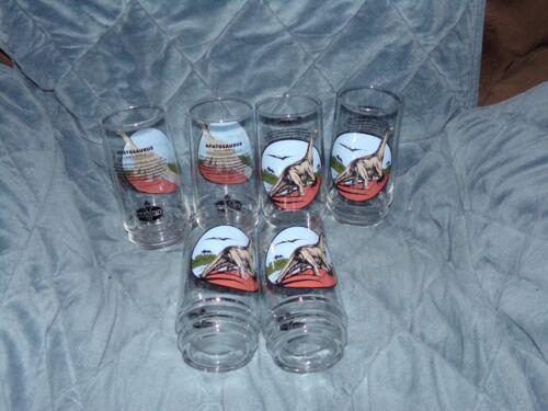 Set Of 6 Apatosaurus Glasses, AMOCO Collector Glasses