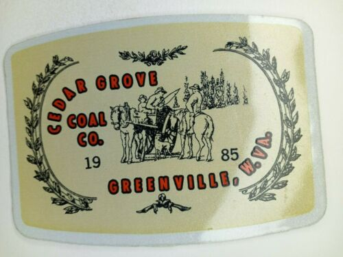NICE OLD CEDAR GROVE COAL COMPANY COAL MINING STICKER HARD HAT DECAL WV