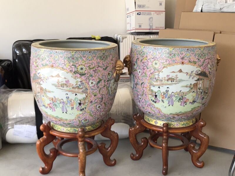Pair of Antique Chinese Famille Rose Medallion Hand Painted Porcelain Fish Bowl