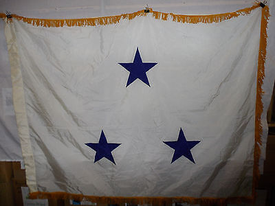 flag796 US Navy 3 Star Vise Admiral White with Gold fringe not eligible Command