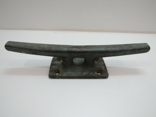 Old 15 inch Long Bronze Dock Boat Cleat -(D3A489)