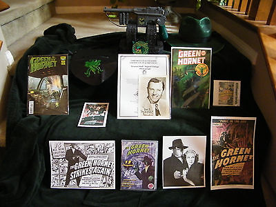 Green Hornet Autographs (Warren Hull & Keye Luke) + Prop Gun, Mask, Hat (Green Hornet Hat)