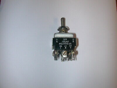 Aircraft Toggle Switch 4pdt On- Off -on 7662k7 Ms25068-21
