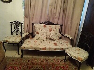 ANTIQUE SALON SUITE 3 PIECES,,  RECOVERED IN NEW NAUTICAL FABRIC(local delivery