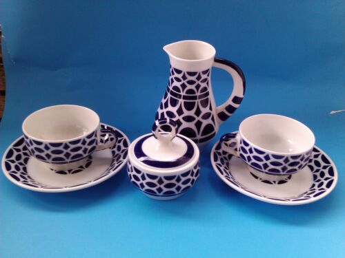 Tableware -  Vintage Sargadelos Tea/Coffee Set 2 cups saucers sugar creamer set