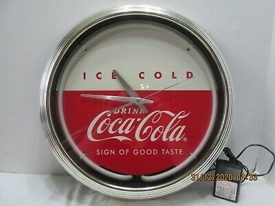 "Vtg Art Deco Round Neon Coca Cola Clock/"" Sign Of Good Times"" (#5-T-12-20)"