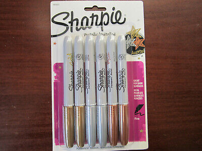 Sharpie Metallic Permanent Markers 6 Fine Point Assorted Gold Silver Bronze New