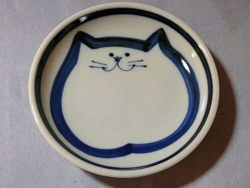 Cat Face blue & white cat dish