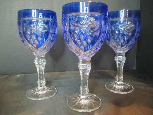 """COBALT BLUE TO CLEAR 3 CRYSTAL WATER GOBLETS CUT STEMS 6 POINT STAR BASE 7 1/4"""""""