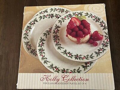 Baum Brothers Formalities Holly Collection 4 Salad/Dessert Plates