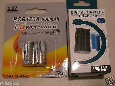 2 Pc Carded Cr123a Battery 3V Rechargeable Carded W  Charger Rcr123a Camera
